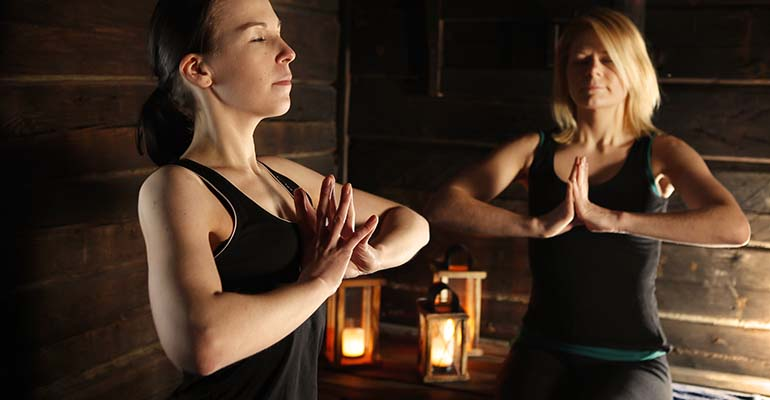 Yoga in sauna Finland